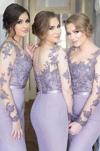 Elegant Lace Long Sleeves Bridesmaid Dress,Lavender Mermaid Bridesmaid Dress,SVD479