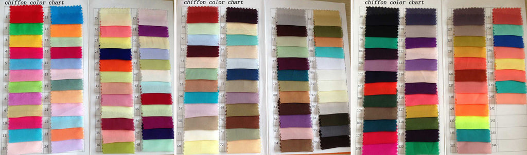 Chiffon color swatches from www.simidress.com