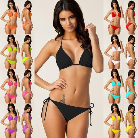 Strappy Bandages Women Plus Size Bikini with Removable Pad