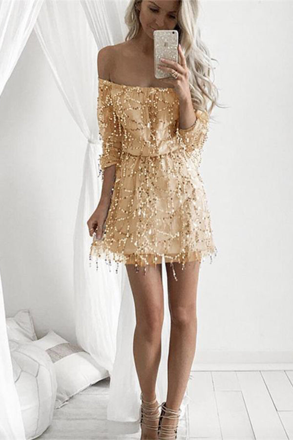 Off Shoulder Long Sleeve Homecoming Dresses Graduation Dresses with Beading,