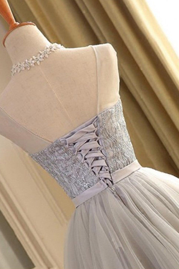 A-line Scoop Gray Tulle Sleeveless Short Prom Dresses with Lace,Homecoming Dress,SH12