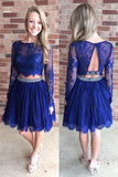 A-line Long Sleeves Royal Blue Short Prom Dresses,Backless Homecoming Dress,SH17