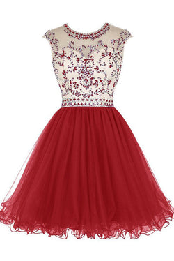 Short Homecoming Dress,Tulle Homecoming Dresses Prom Dresses with Beading,SVD577