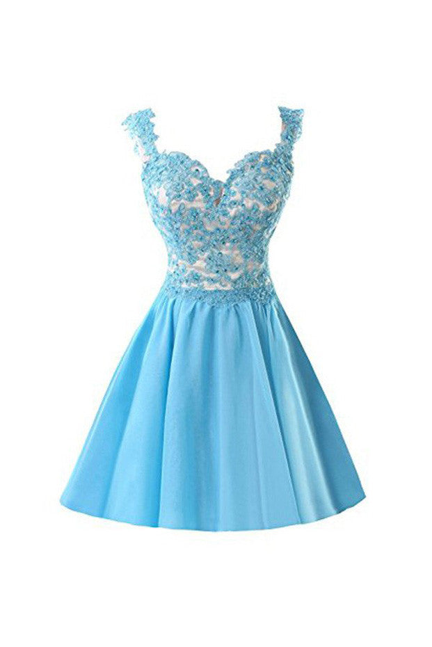 Chiffon Short Homecoming Dress,Homecoming Dresses Prom Dresses With Straps Appliques,SVD579