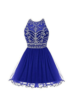 Royal Bule Homecoming Dresses,2016 Short Prom Gowns Tulle Homecoming Dress,SVD581