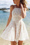 A-line White Halter Short Straps Lace Homecoming Dresses With Pleats,SH13