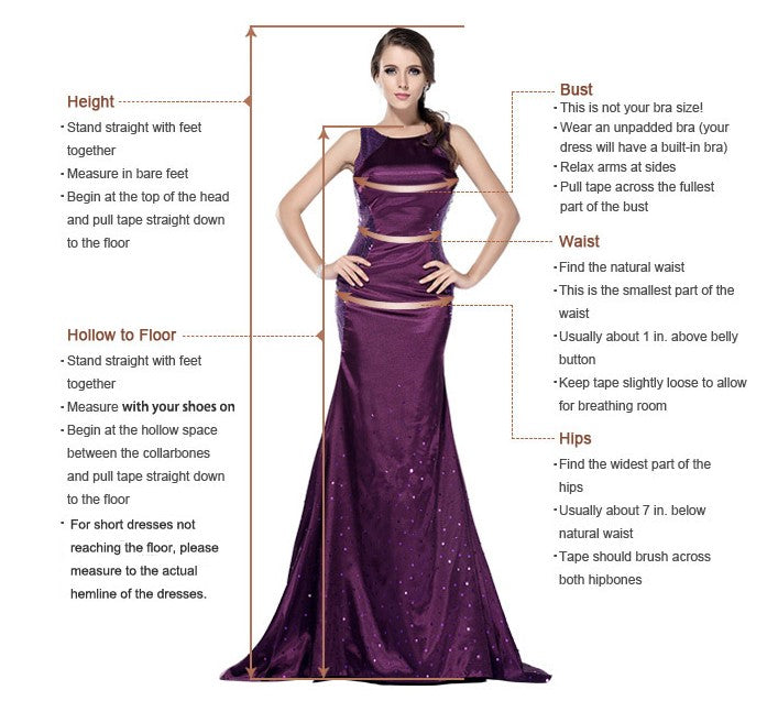 Measure guide of prom dress at simidress.com