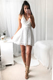 White Sweetheart Spaghetti Homecoming Dress,Open Back Short Prom Dress