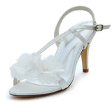 Satin Stiletto Heel Sandals Slingbacks With Buckle, Wedding Shoes, L-571