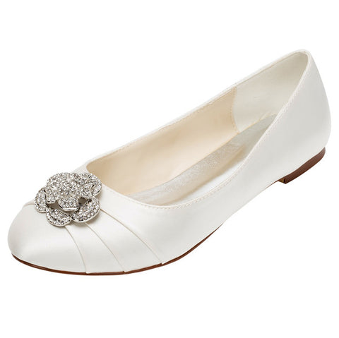 Women's Satin Flat Heel Closed Toe Flats Shoes with Beading,High Quality Wedding Shoes, L-573