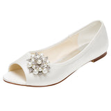 Woman's Satin Flat Peep Toe Shoes,High Quality Wedding Shoes, L-575