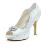 Women's Satin Stiletto Heel Peep Toe Platform Sandals With Rhinestone, L-578