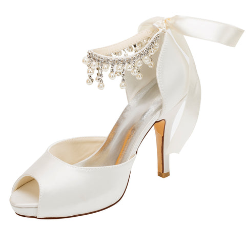 Women's Satin Stiletto Heel Peep Toe Platform Sandals With Rhinestone, L-579