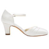 Satin Women's Stiletto Heel Closed Toe Pumps With Buckle,Wedding Shoes,L-582