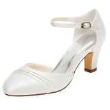 Fashion Women's Satin Stiletto Heel Closed Toe Pumps With Buckle,Wedding Shoes,L-583