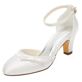 Wedding Shoes,Women's Satin Stiletto Heel Closed Toe Pumps With Buckle,L-585
