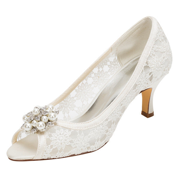 Women's Satin Stiletto Heel Peep Toe Platform Sandals with Beading,Wedding Shoes,L-587