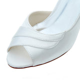 Satin Stiletto Heel Peep Toe Pumps,Wedding Dresses,Cheap Woman Shoes,L-589