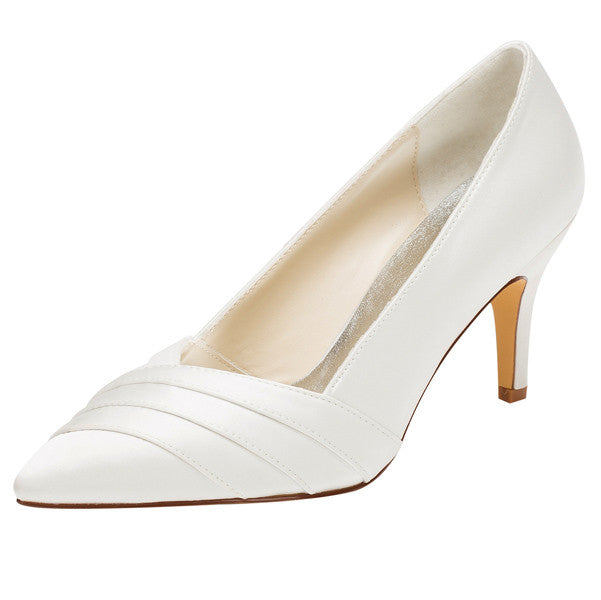Women's Satin Stiletto Heel Closed Toe Pumps,High Quality Wedding Shoes, L590