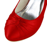Women's Satin Stiletto Heel Closed Toe Pumps,Red Wedding Shoes, L593