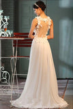 A-Line V-Neck Sheer Back Floor-Length Chiffon Wedding Dress,Wedding Gown,L11