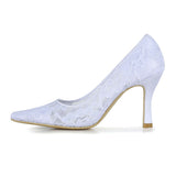 Ivory Woman's Stiletto Heel Closed Toe, Cheap Wedding Shoes, L595