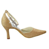Gold Sequin Shiny Gorgeous Sparkly Ankle Strap Shoes For Women, L599
