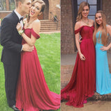 Gorgeous Red A Line Off Shoulder Ruffle Long Prom Dresses, M100