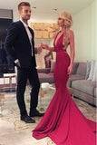 Deep V-neck Red Mermaid Simple Cheap Sexy Backless Prom Dresses, M101