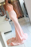 Cute Pink Halter Lace Backless Mermaid Beaded Evening Dresses, M104