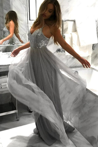 Light Grey Backless Spaghetti Lace Tulle Long A-line Prom Dresses, M107