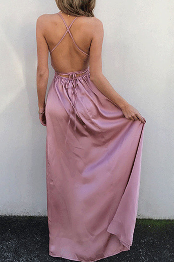 Simple Pink V Neck Spaghetti Straps Long Prom Dress with Slit, M114