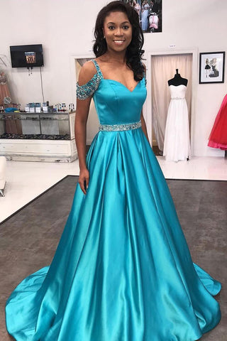 Blue Cap Sleeves Satin A Line Beaded Long Prom Dresses with Sweep Train, M118