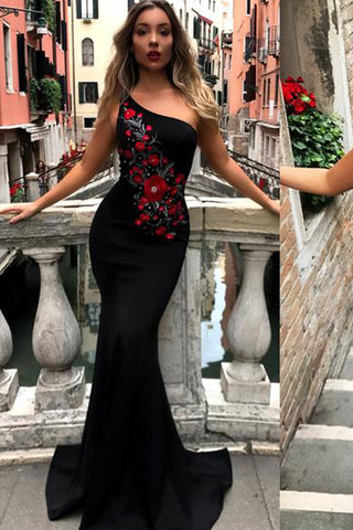 Black One Shoulder Mermaid Pretty Long Prom Dresses, Cheap Prom Dresses, M127