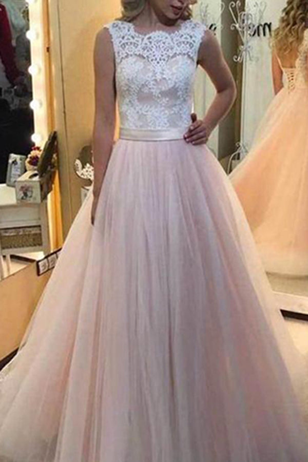 White Lace Pink Tulle A Line Long Prom Dress With Lace Back Up, M128