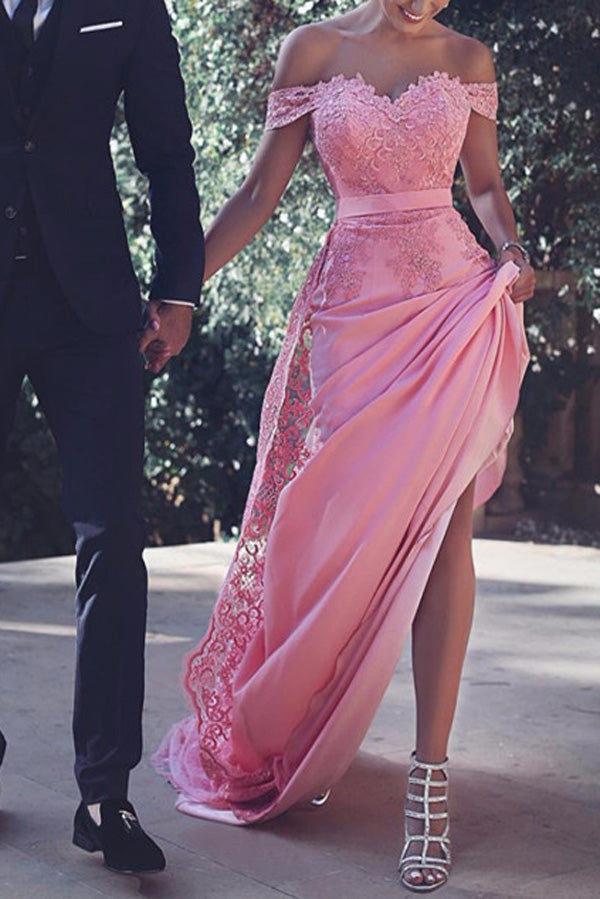 Pink Satin Cap Sleeves Off Shoulder Long Prom Dresses, Party Dresses, M132