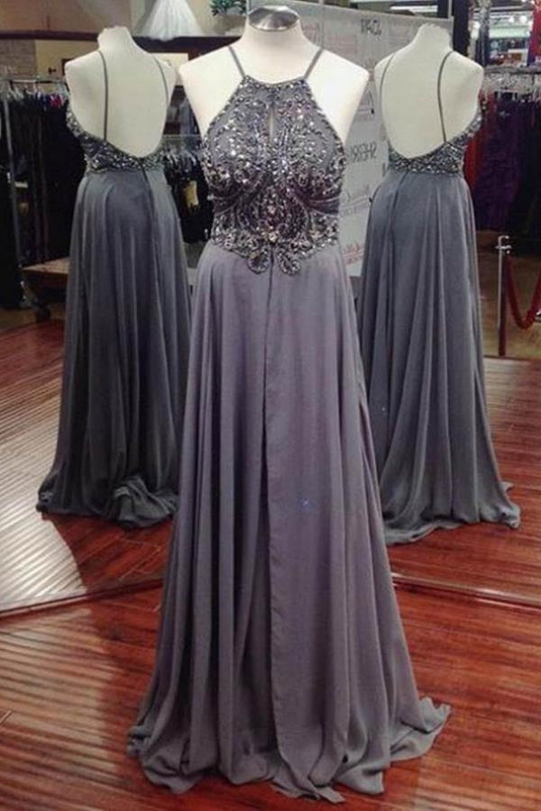 Gray Spaghetti Straps A-line Chiffon Long Prom Dresses with Beading, M137