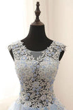 See Through A-line Tulle Blue Lace Appliqued Long Prom Gowns, M142