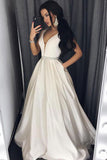 Simple A-line Princess V-neck Long Prom Dresses with Pocket, M146