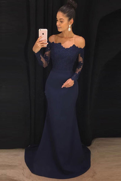 Navy Mermaid Off the Shoulder Long Prom Dresses with Long Sleeves, M147