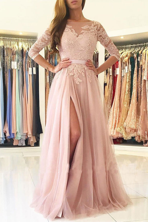 Pink Tulle A-line Illusion Neck Lace Half Sleeves Long Prom Dresses, M148
