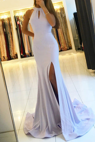Backless Mermaid Long Prom Dresses with Side Slit,Simple Party Dresses, M149