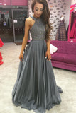 Grey Chiffon A-line Rhinestone Beaded Top Dark Long Prom Dresses, M151
