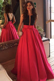Red Satin Scoop Neck Backless Sexy Long Prom Dresses with Sweep Train, M153