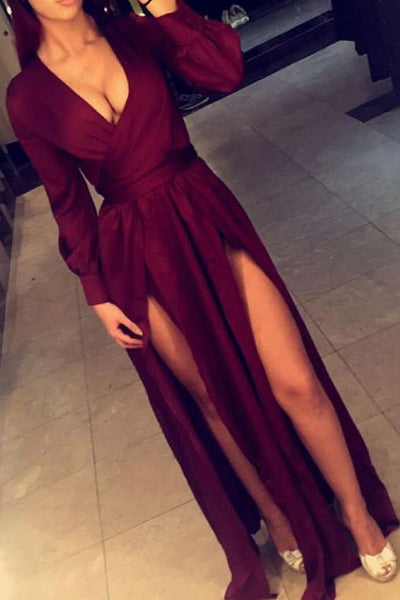 Burgundy Floor Length Long Sleeves Deep V Neckline Long Prom Dress With Slits, M155