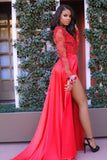 Red Chiffon Long Sleeves Prom Dresses with Slit and Sweep Train, P150