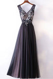 Simple Dark Grey Princess A-line V-neck Long Prom Dresses, Party Dress, M159