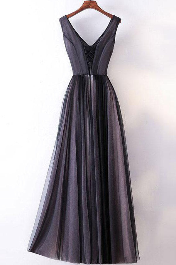 Simple Dark Grey Princess A-line V-neck Long Prom Dresses, Party Dress at simidress.com
