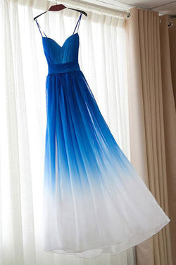 Royal Blue Ombre Spaghetti Strap Long Prom Dress,Bridesmaid Dresses, M160