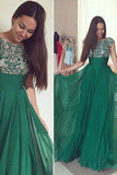 Dark Green Chiffon A-line Prom Dress with Beading, Long Formal Dress, M163